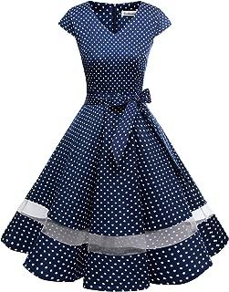 Gardenwed Women's 1950s Rockabilly Cocktail Party Dress Retro Vintage Swing Dress Cap-Sleeve V Neck