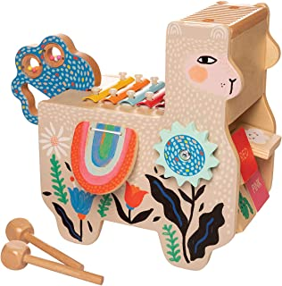 Manhattan Toy Musical Llama Wooden Instrument for Toddlers with Maraca, Clacking Saddlebags, Drumsticks, Washboard and Xyl...