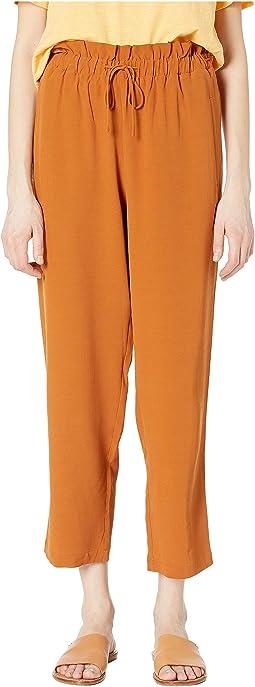 Ankle Length Straight Pants w/ Gathered Waist