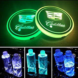 Heart Horse LED Car Logo Cup Holder Light Pad, Waterproof Bottle Drinks Coaster Built-in Light 7 Colors Changing USB Charging Mat LED Cup Mat Car Atmosphere Lamp for Cadillac (Pack of 2)