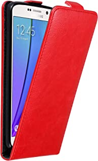 Cadorabo Case Works with Samsung Galaxy Note 5 in Apple RED – Flip Style Case with Invisible Magnetic Closure – Wallet Etui Cover Pouch PU Leather Flip