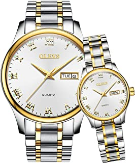 OLEVS His and Hers Couple Watches, Women Men Date Windows & Luminous Stainless Steel/Leather Strap Brand Quartz Battery Watches, Love Valentines Gift Set for Boyfriend Girlfriend