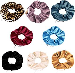 NUOCHUANG Velvet Scrunchies, 8 Pack Soft Hair Ties with Zipper Pocket, Elastic Hidden Pocket Hair Band, Great Gift for Wom...