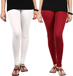 Pixie Women's/Girls Cotton Lycra 160 GSM 4 Way Stretchable Churidar Leggings Combo White and Maroon (Pack of 2) - Free Size