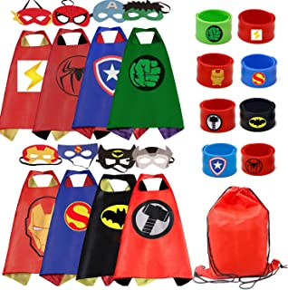 RioRand Kids Costumes 8PCS Superhero Capes with Masks and Slap Bracelets for Boys Dress Up Party Favors