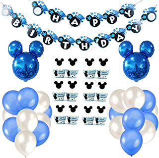 Decoraciones de cumpleaños de Mickey Mouse, bolas de nido de abeja de Mickey Globo de Red Black, banner de Happy Birthday, globos número para la fiesta temática de Mickey Mouse