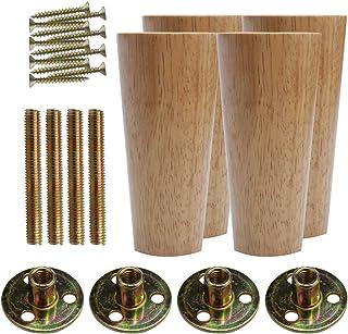 Sourcingmap - Patas redondas de madera maciza para muebles, sofás, bancos, sillas, armarios, muebles, ajustadores de altura de repuesto