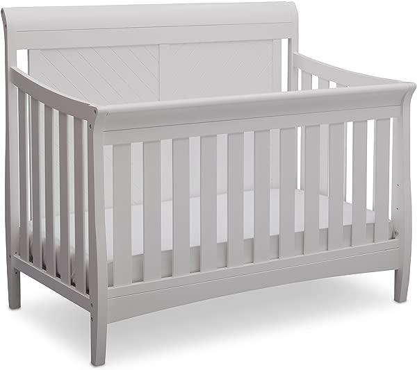 Delta Children Bennington Elite Sleigh 4 In 1 Convertible Crib Bianca White