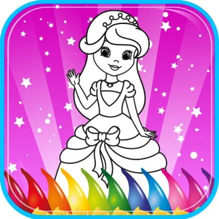 Princesa Livro de coloração para crianças, jogo de colorir para meninas, jardim de infância e de criança meninas pré-escolar, as crianças todas as idades. Imagens bonitas de princesas, cavaleiros, castelos, unicórnio, cavalo, coração, amor.