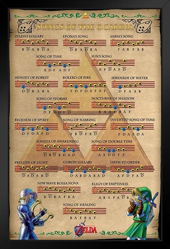 Pyramid America Zelda Ocarina of Time Songs of The Ocarina Action Adventure Video Game Nintendo Framed Poster 14x20 inch