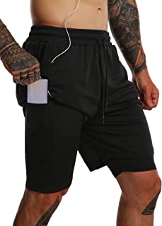 FLYFIREFLY Men's 2 in 1 Running Shorts with Pockets Gym Sport Athletic Shorts for Men Workout