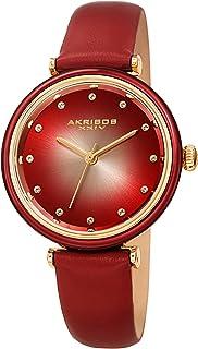 44318643af1dc Akribos XXIV Montre avec bracelet en cuir pour femme avec marqueurs en cristal  Swarovski sur cadran