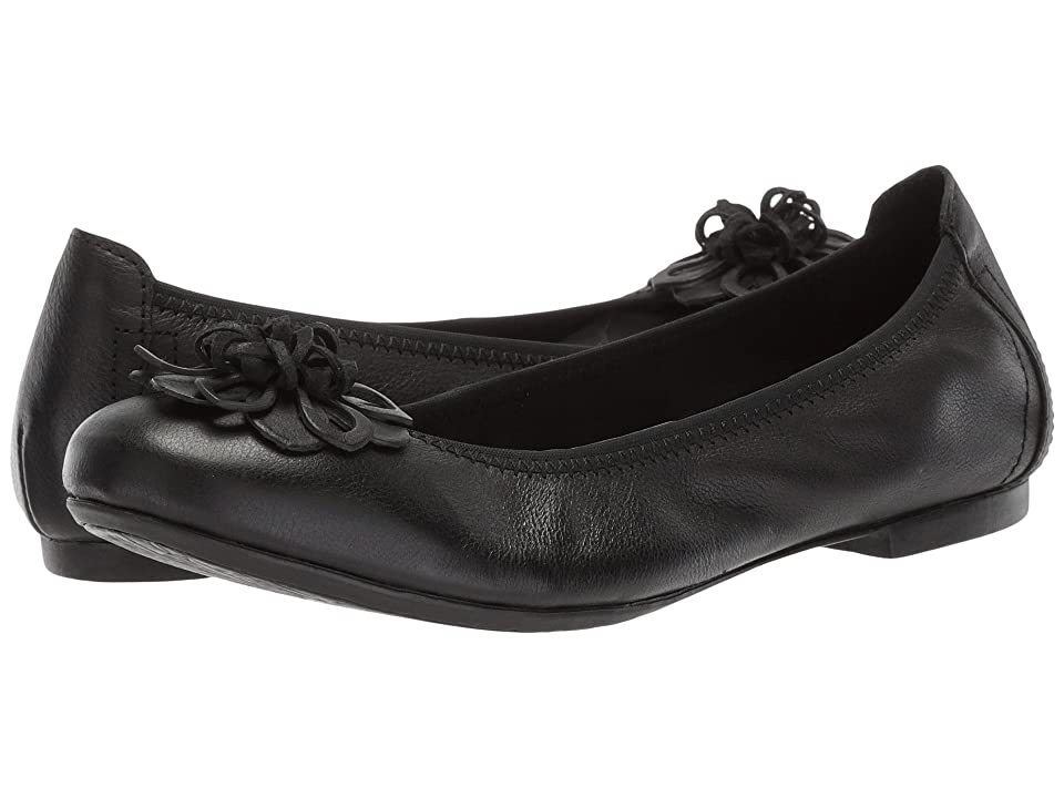 Retro Vintage Flats and Low Heel Shoes Born Julianne Floral Black Full Grain Leather Womens Slip on  Shoes $90.00 AT vintagedancer.com