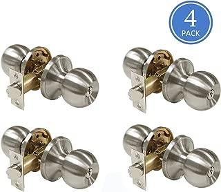 Satin Nickel Finish Door Knobs Enterior Door Locks with Keys Keyed Entrance Door Handles, Round Classic Style, Door Knob Contractor Pack of 4