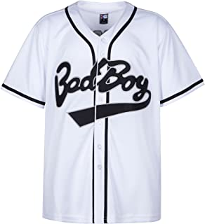 Badboy #10 Biggie Baseball Jersey S-XXXL White, 90S Hip Hop Clothing for Party, Stitched Letters and Numbers