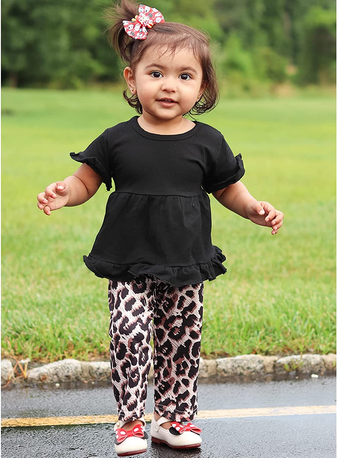 Toddler Girl Clothes 20M 20T Baby Girl Summer Outfits Ruffle Short Sleeve  Tops Floral Pants Cute Headband Set