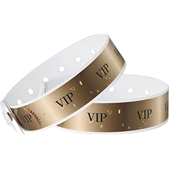 Ouchan Plastic Gold VIP Wristbands - 100 Pack Vinyl Wristbands for Events Party Event Wristbands