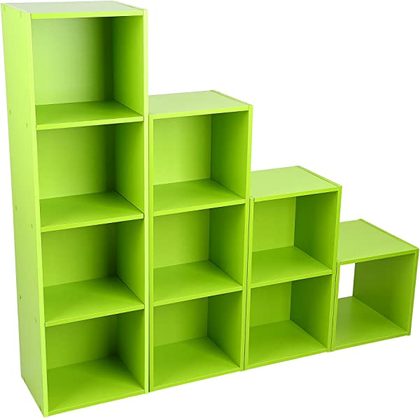 Qiterr 4 Layers Bookcase Wood Adjustable Book Shelving Storage Bookshelf
