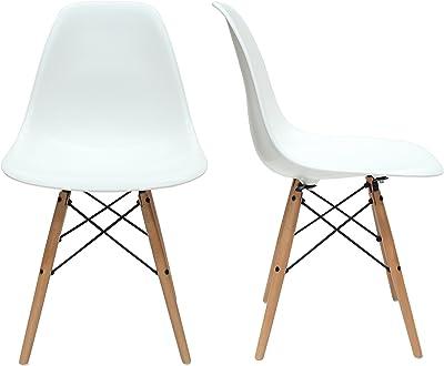 Aryana Home Adulto sillas nórdicas, Madera, Blanco, Alto: 82 cm. Ancho: 46. Fondo: 52 cm. Alto Asiento: 45 cm