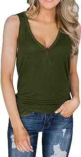 Womens Tank Tops Deep V Neck Sleeveless Button Up Loose Workout Henley Shirts