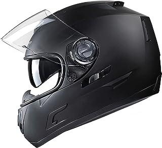 GLX Unisex-Adult GX15 Lightweight Full Face Motorcycle Street Bike Helmet with Internal Sun Visor DOT Approved (Matte Black, Large)