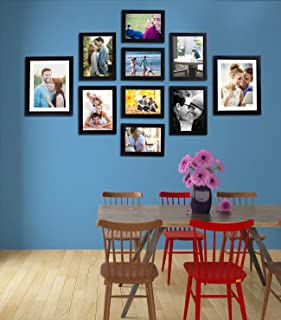 Art Street - Set of 10 Individual Black Wall Photo Frames Wall Hanging (Mix Size)(4 Units 5X7,4 Units 6X8 2 Units 8X10 inch)|| Free Hanging Accessories Included ||