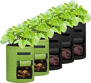 MIXXIDEA Plant Grow Bags Garden Planter Bags Two Windows Potato Growing Bag Vegetables Planter Bag with Handle for Tomato ...