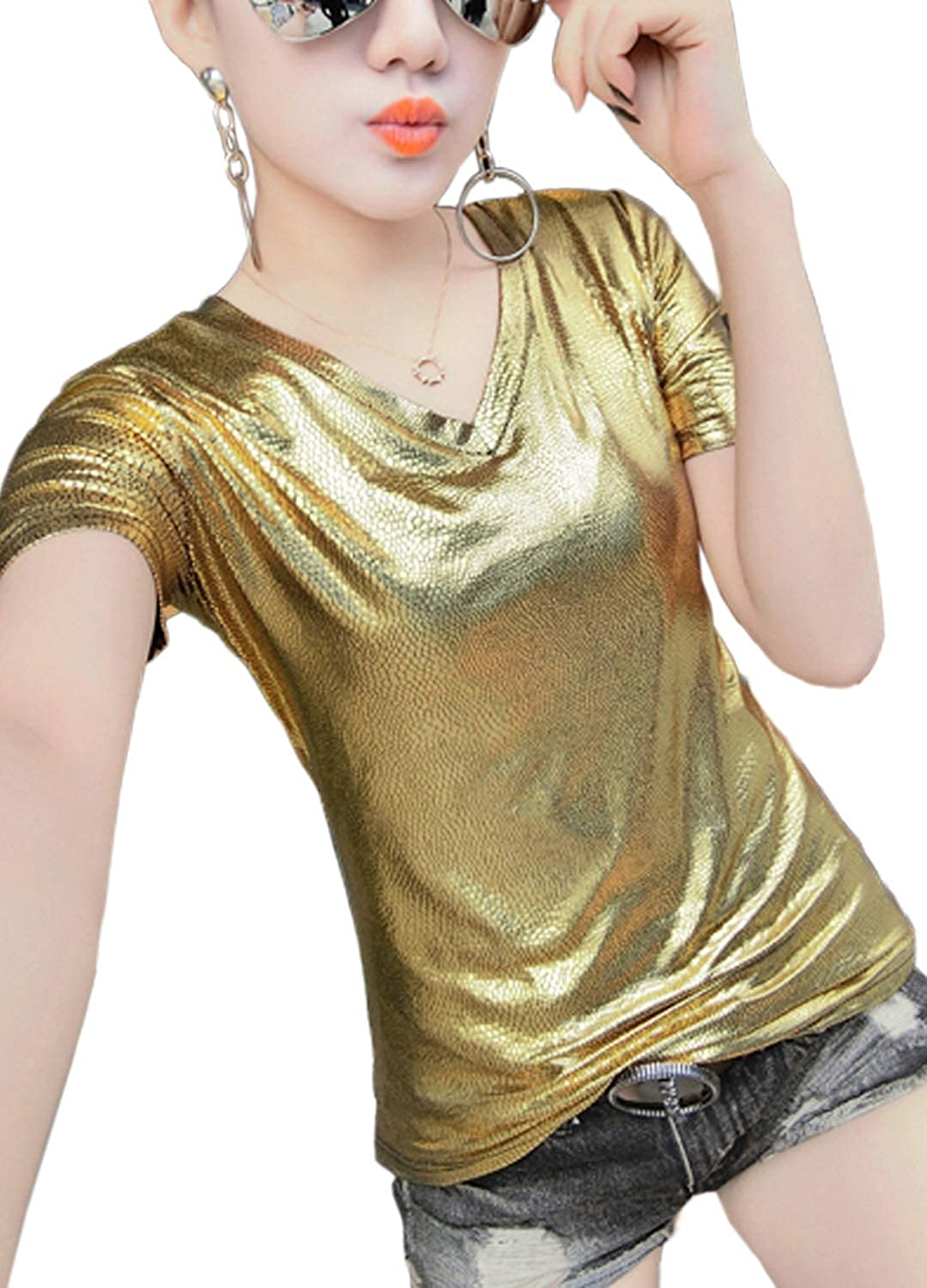 Hoohu Women's Fashion Glitter Short Sleeve VNeck Loose Fit 3XL 2XL XL L TShirt Tank Top for Casual Club Party Dance