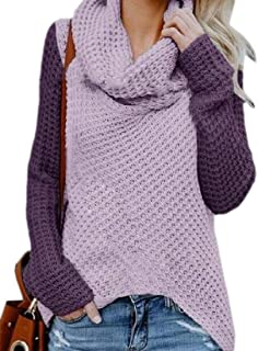 Women Casual Long Sleeve Pullover Turtleneck Chunky Knitted Jumper Sweater