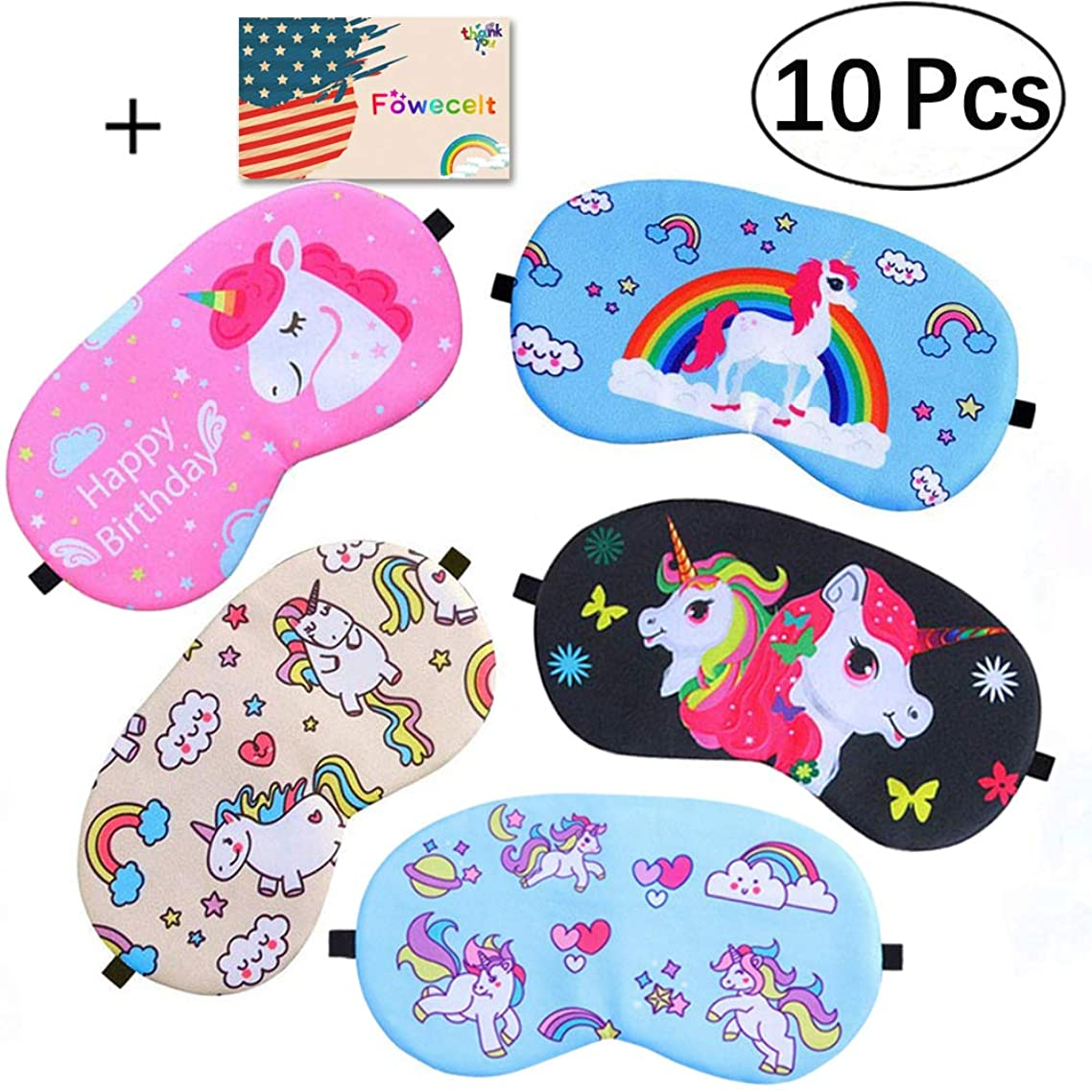 10 Pack Unicorn Sleep Mask for Unicorn Theme Party, Kids Girls Birthday Party, Unicorn Party Favor Supplies, Unicorn Party Decoration, Travel Night Sleeping Eye Masks, Cute Soft Eye Cover/Blindfold
