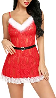 Avidlove Womens Christmas Lingerie Santa Dress Red Babydolls Lace Chemise