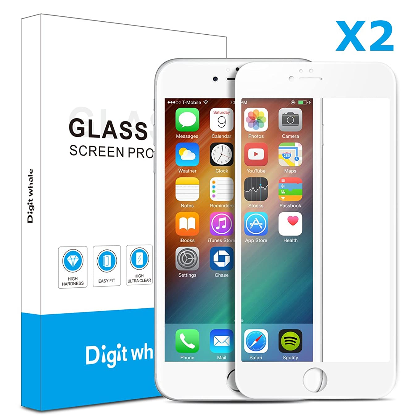 【2枚セット】Iphone6/6s(白)用ガラスフィルム 3D曲面炭素繊維ソフトエッジ 高硬度9H 超薄 気泡防止 ディスプレー全面カバー  Digit Whale