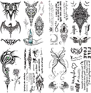 Yesallwas 8 Sheet cute Temporary Tattoo Sticker Fake Tattoos for Women Girls Models,Waterproof Long Lasting Body Art Makeup Sexy Tattoos -butterfly,word,dragon,totem,angel,Bracelet,Moth,candle,spider