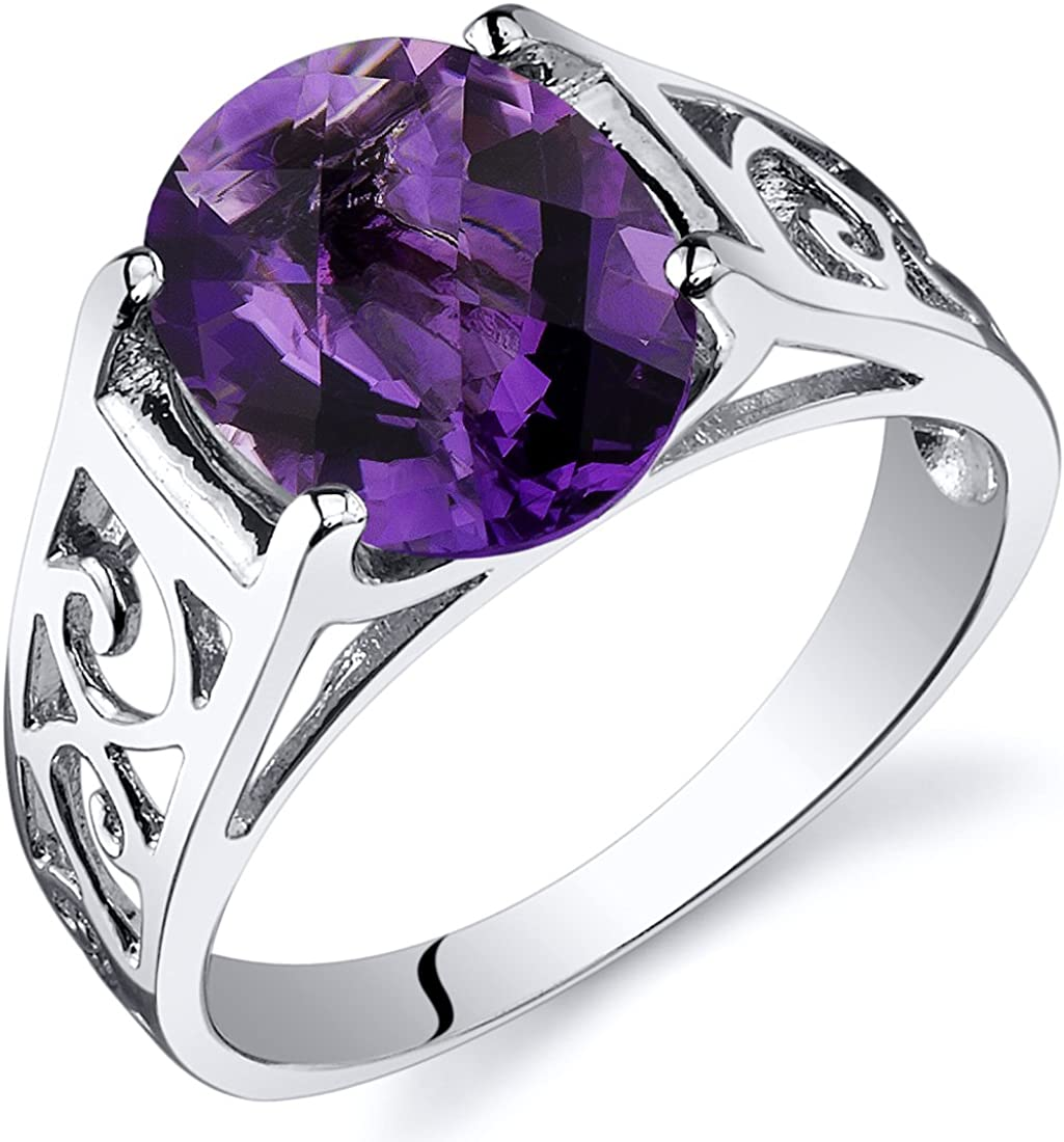 Checkerboard Cut Max 79% OFF OFFicial shop 2.25 carats Amethyst Sterling in Solitiare Ring