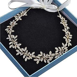 Diamond Garland Bridal Wedding/Sweet Sixteen/Flower Girl/Quinceanera Crown Headdress With Ribbon (Gold)