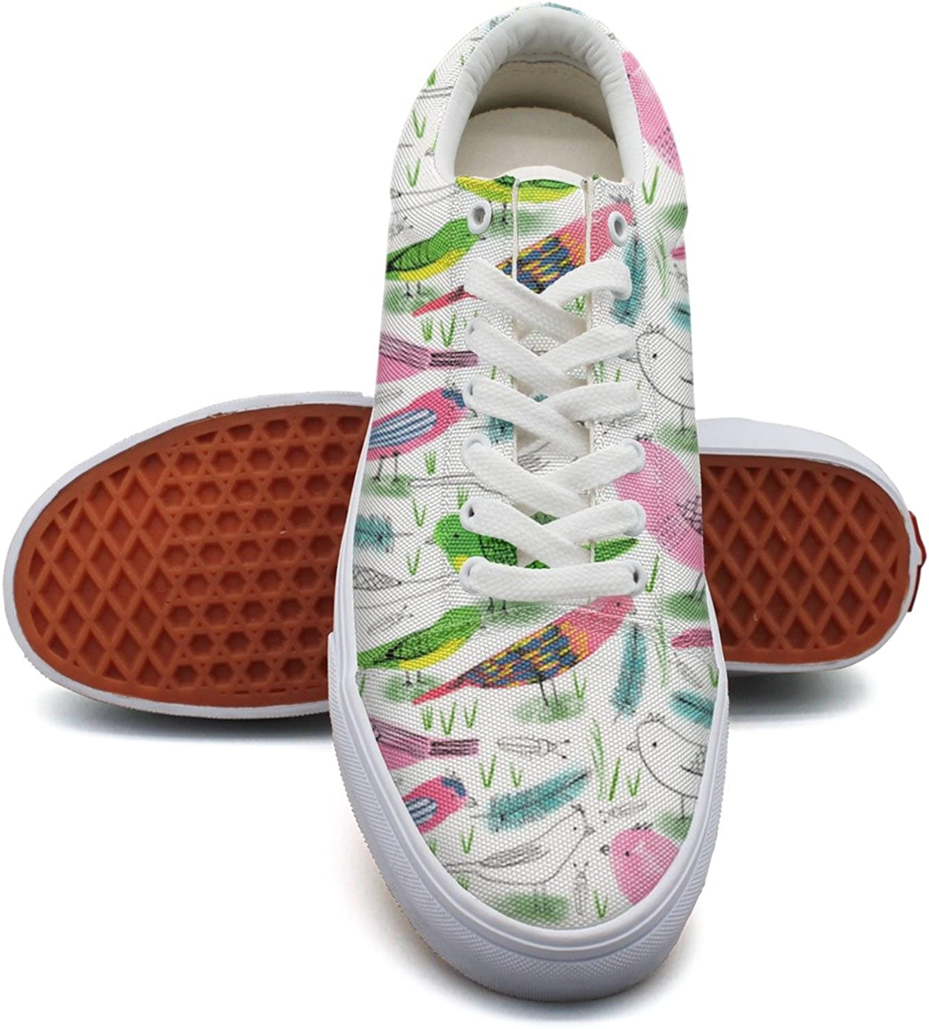 Hjkggd fgfds Casual Watercolor Gren Abd Pink Birds Feathers Women Canvas Sneakers shoes
