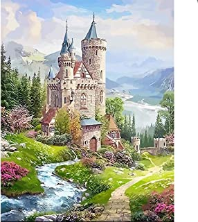 Fundaful 5D Diamond Painting Art Full Round Drill Shiny Rhinestone Cross Stitch Embroidery Landscape Paintings Pictures Craft for Home Wall Decor Castle 16x12in