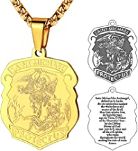 FaithHeart Saint Michael Necklace Bracelet, Personalized Engraving Protection Gifts for Men/Women, Stainless Steel/Gold Plated St. Michael The Archangel Medal Pendant Jewelry (Send Gift Box)