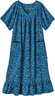 Casual Print Sun Dress House Dress Lounger Short Sleeves with Pockets