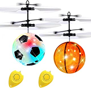 2 Pack Flying Ball Toys for Kids, RC Flying Toy for Boys Girls Age 6 7 8 9 10 Holiday Toy List, Infrared Induction Light U...