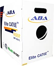 Elite CAT6E Riser (CMR), 1000ft, UTP 24AWG, Solid Bare Copper, 600MHz, UL Certified, HDBaseT, Easy to Pull (Reelex II) Box, Bulk Ethernet Cable in White