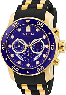 Invicta Men's Pro Diver Scuba 48mm Gold Tone Stainless Steel Quartz Watch with Black Silicone Strap, Blue (Model: 6983)