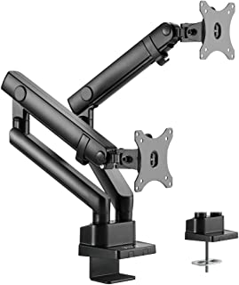 VIVO Premium Aluminum Full Motion Dual Monitor Desk Mount Stand with Lift Engine Arm | Fits Screens up to 32 inches (STAND-V102BB)