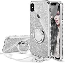 Cute iPhone Xs Case, Cute iPhone X Case, Glitter Luxury Bling Diamond Rhinestone Bumper with Ring Grip Kickstand Protective Thin Girly Pink iPhone Xs Case/iPhone X Case for Women Girl - Silver