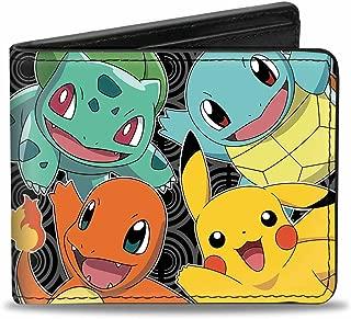 Buckle-Down Men's Wallet Kanto Starter Pokamon & Pikachu Close-up + Pokamon Accessory, -Multi, One Size