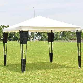Wenst'sKufAN 10'x10' Gazebo Steel/Rattan Wicker Gazebo Canopy Tent Shelte
