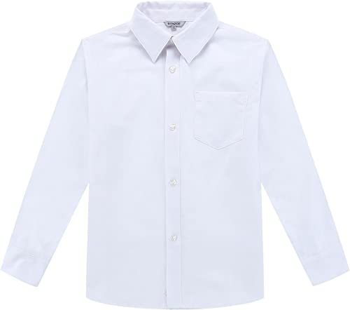 Bienzoe Niño Uniforme Escolar Manga Larga Oxford Camisa