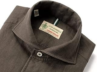ルイジボレッリ ルイジボレリ LUIGI BORRELLI / 20SS!製品洗いリネンポプリン無地イタリアンカラーシャツ「VESUVIO(9131)」 (ダークブラウン) メンズ