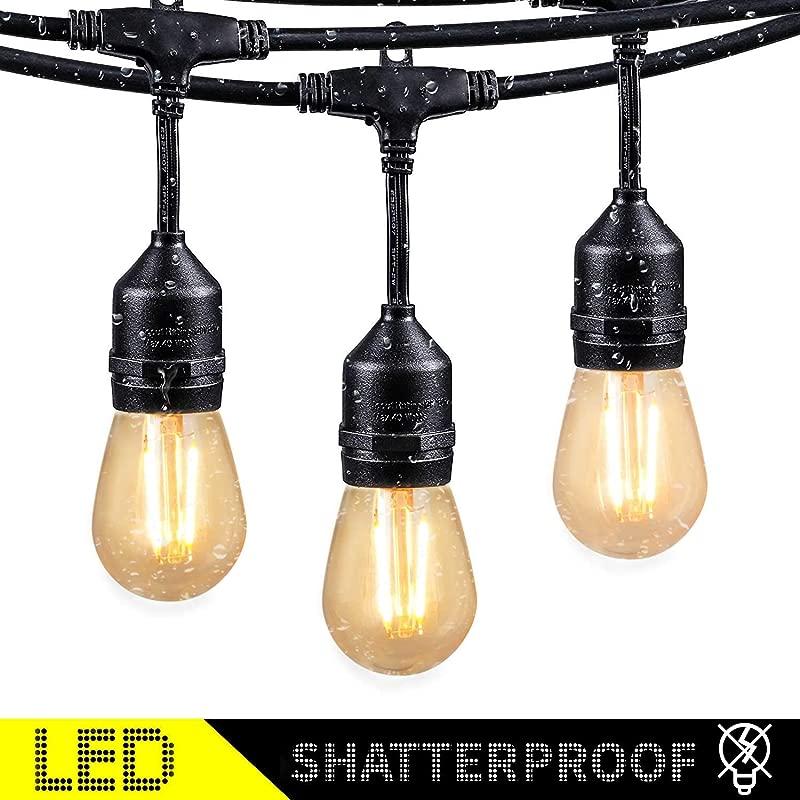 48Ft LED Outdoor String Lights With 15 Dimmable S14 Edison Bulbs Shatterproof Commercial Grade Hanging Patio Lights For Deck Backyard Bistro Cafe Pergola Gazebo Wedding Garden Vintage Light Decor