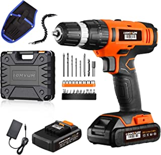 Cordless Drill Driver Lomvum 20V Power Drill with 2 Lithium Batteries, 1 Faster Charger, 2-Speed 3/8